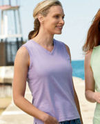 3584 LAT Ladies' Combed Ringspun V-Neck Sleeveless T-Shirt