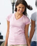 3607 LAT Ladies' Junior Fine Jersey V-Neck Longer Length T-Shirt