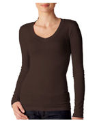 Bella Ladies Andrea Sheer Rib Long-Sleeve V-Neck T-Shirt