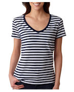 Anvil Ladies' Stripe V-Neck Tee